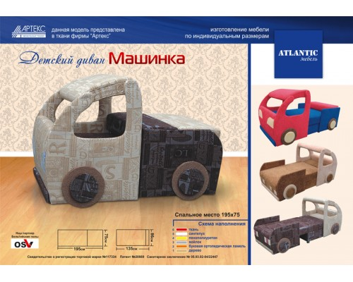 Детский диван МашинкаAtlantic мебель Донецк.Детский диван Машинка по цене от 16 440.00 руб.-ДНР