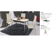 Стол Ницца Тд 217.01 (бежевая кожа, стекло коричневое)